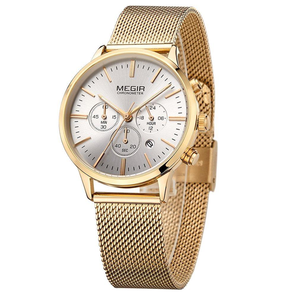 Realke Women's Luxury Business Stainless Steel Band Movement Quartz Analog Display Calendar Date Chronograph Waterproof Wrist Watch (Gold)