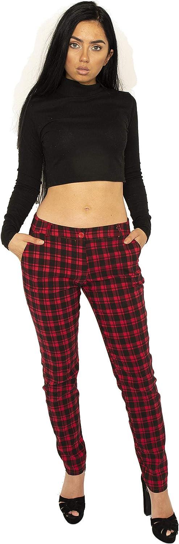 Générique Pantalon à Carreaux pour Femme Coupe Slim Rouge