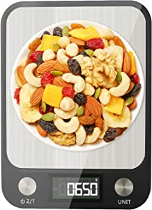 Food Scale, Digital Multifunction Kitchen Scale with 1g/0.1oz Precise Increment for Baking and Cooking, 10kg/22lbs, 7 Units, LCD Display, Waterproof, Brushed 304 Stainless Steel Technics Surface