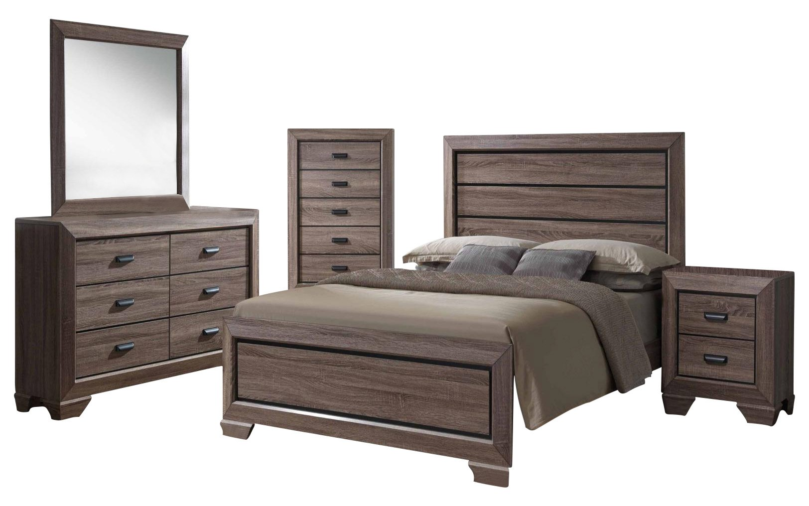 Kings Brand 6-Piece Queen Size Black/Brown Wood Modern Bedroom Furniture Set, Bed, Dresser, Mirror,