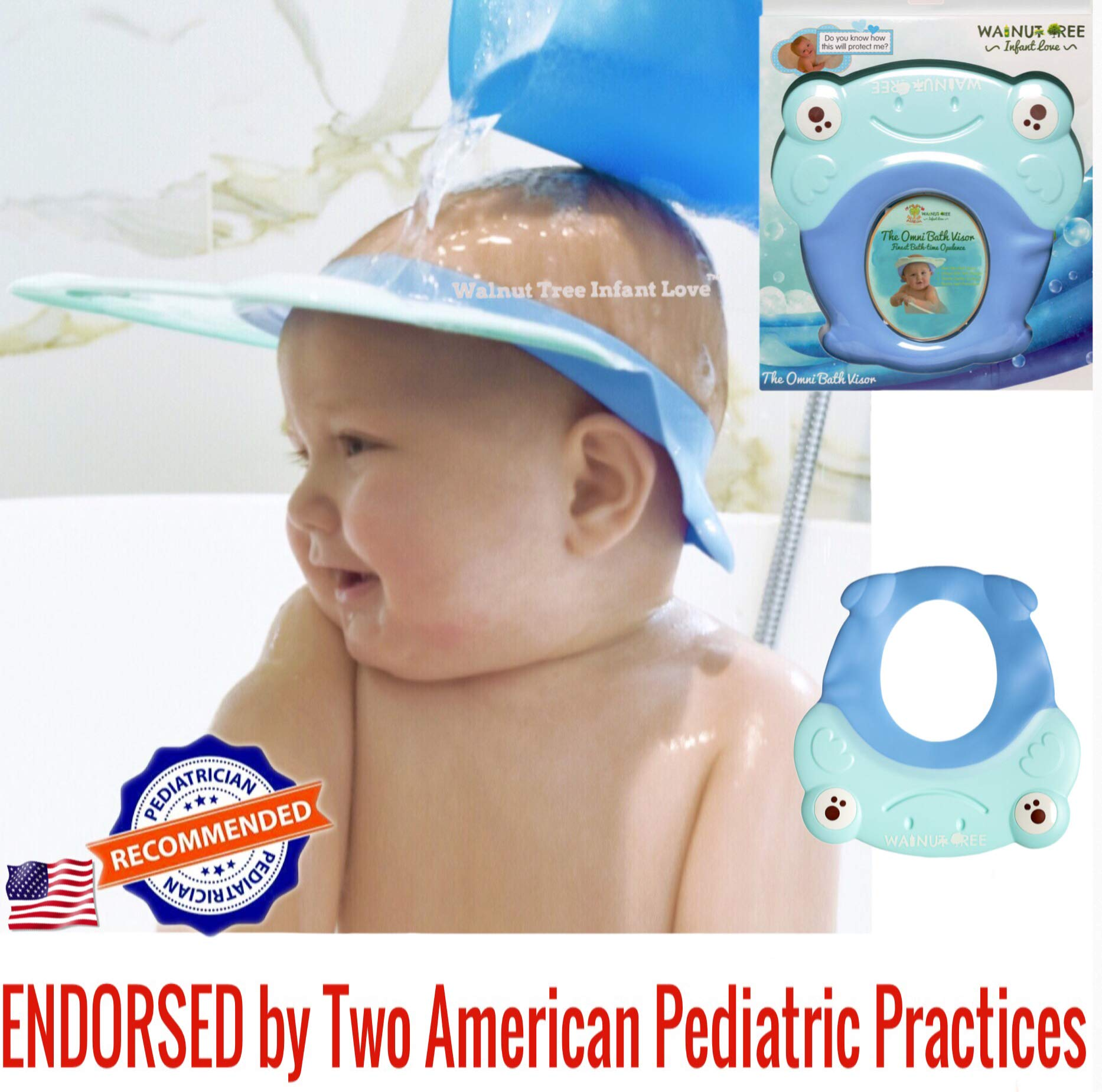 Walnut Tree Omni Bath Shower Visor Protection Soft Cap for Shower and Bath Time Safety for Toddlers, Baby and Children [11 Months Old+ Recommended] (Sky Blue)
