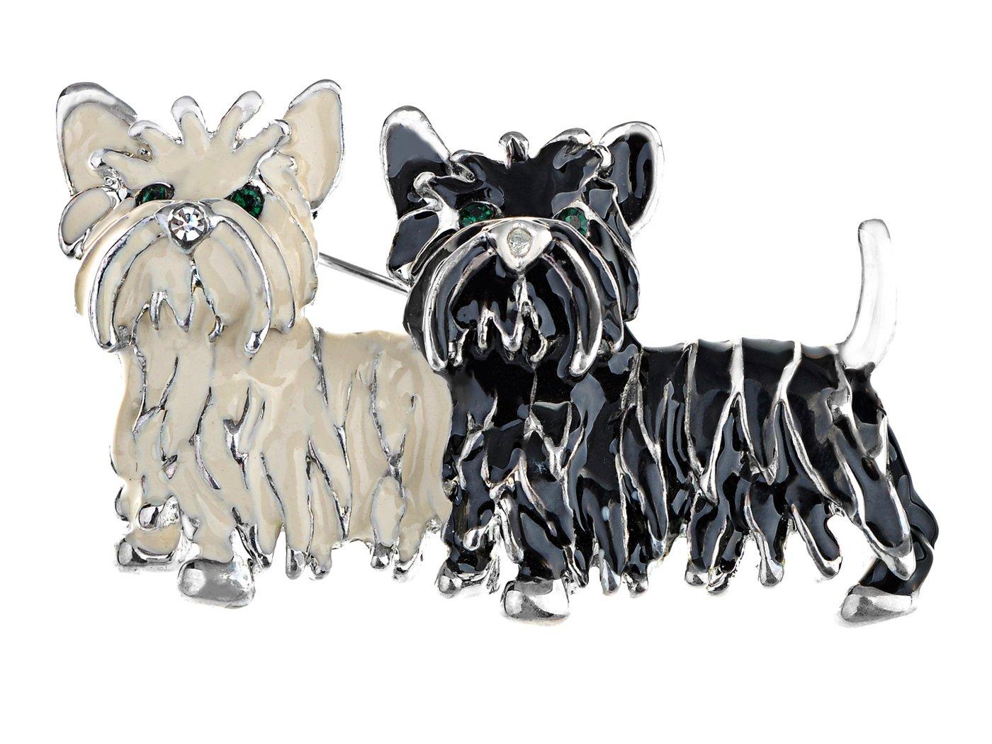 Alilang Cute Black White Shih Tzu Terrier Dog Puppy Love Enamel Cartoon Furry Animal Brooch Pin