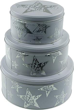 macosa eb400019 Juego de 3 Cajas rectangulares para Galletas, Metal, Lata de Galletas apilable, Bote   Galletas Tarro   Caja de Regalo   Lata: Amazon.es: Hogar