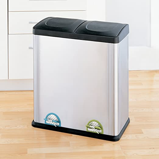 Amazon.com: Organize It All Dual Compartment Step On 16 Gallon Recycling  Trash Can, Stainless Steel: Home U0026 Kitchen