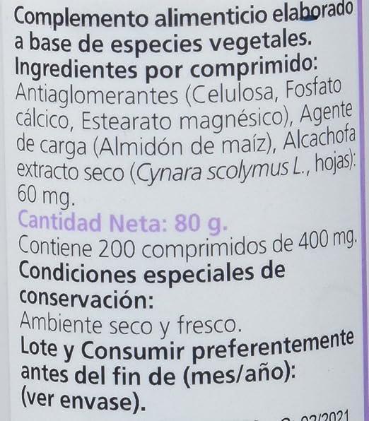 Sanon Alcachofa, Complemento Alimenticio, 200 Comprimidos, 400 mg: Amazon.es: Salud y cuidado personal