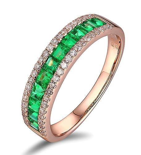 Epinki 18k Oro Anillos para Mujer Tres Filas Anillo Propuesta Matrimonio Anillo de Diamante con Blanco Verde Diamante Esmeralda: Amazon.es: Joyería