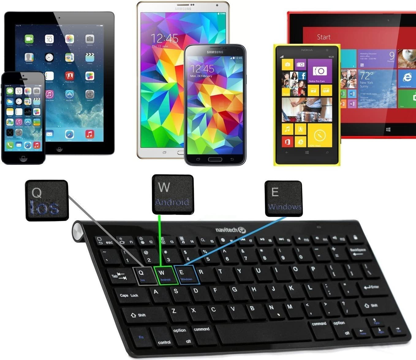 Navitech Black Wireless Bluetooth Multi OS Keyboard Compatible with All Android/Windows & iOS Tablets Including The Acer Iconia One 10 Tablet B3-A40