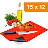 Kitchen Gizmo TPU Cutting Board - Large, Flexible, Anti Bacterial Chopping Mats - Double Sided, Red and Black