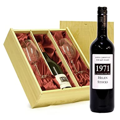 Personalised Fine Red Wine 750ml In A Wooden Gift Box With 2 X Wine