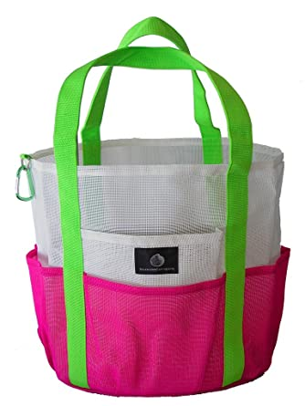 Amazon.com | Mesh Family Beach Tote - White & Hot Pink w black ...