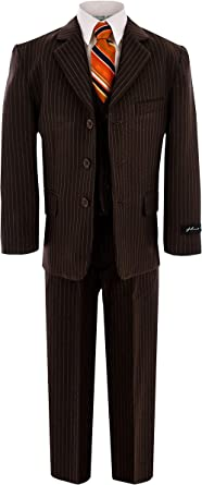 many fashionable the cheapest newest Amazon.com: Johnnie Lene Pinstripe Brown Suit for Boys from Baby ...