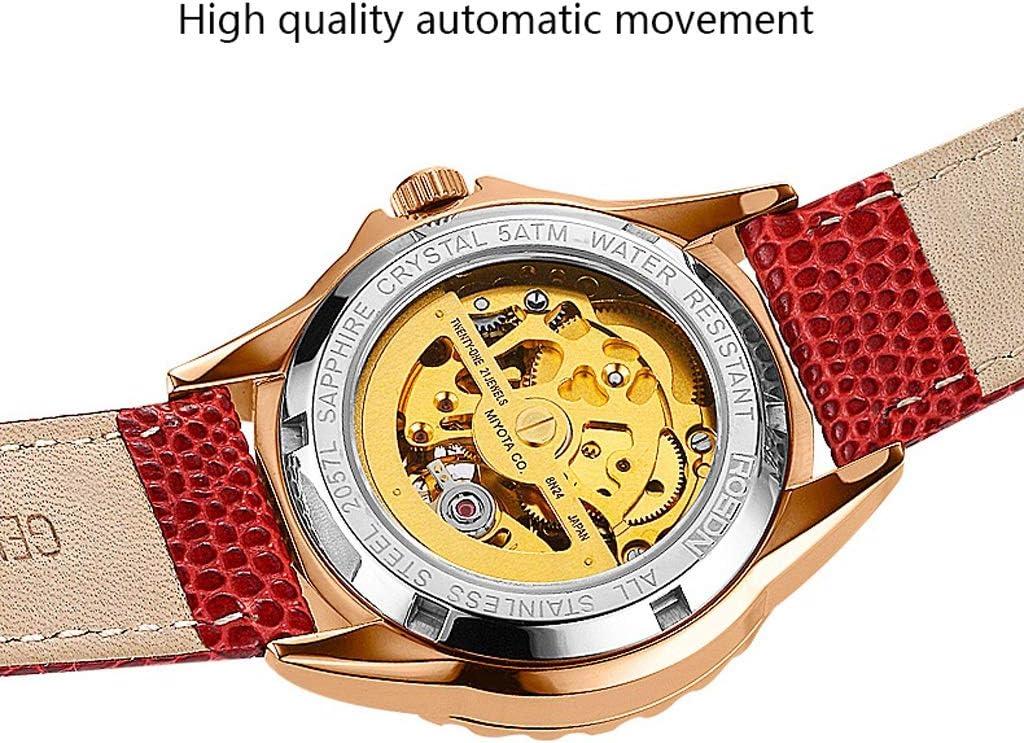LZ Lady Mechanical Tourbillon Watch Bradshaw en Forme de Coeur Creux Shall Montres Visage, 50M Montre-Bracelet en Cristal de Bande de Cuir imperméable pour Cadeau de Noël (Couleur : Blanc) Red