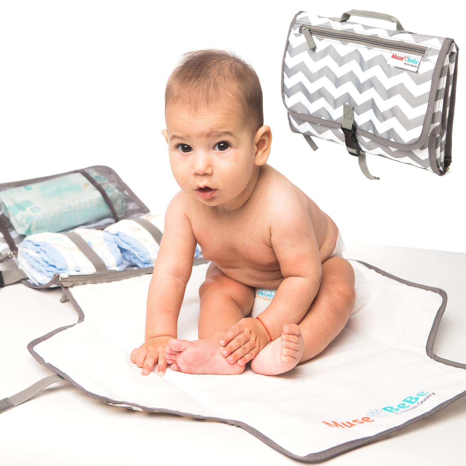 MuseBeBe ~ Portable Changing Pad & Diaper Change Station | 2-in-1 Detachable Mat & Stylish Diaper Clutch for Modern Moms | Compact Tote Bag & Backpack Replacement