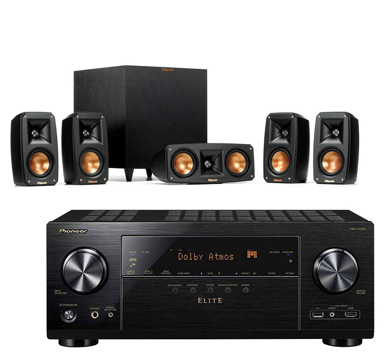 Klipsch Reference Theater Pack 5.1 Surround Sound System Bundle with Pioneer VSX-LX303 9.2-Channel 4k Ultra HD Network A/V Receiver - Black