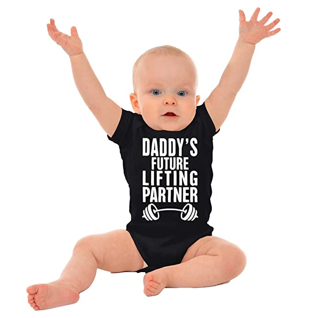 Brisco Brands Daddys Lifting Partner Funny Cute Workout Exercise Baby Romper Bodysuit