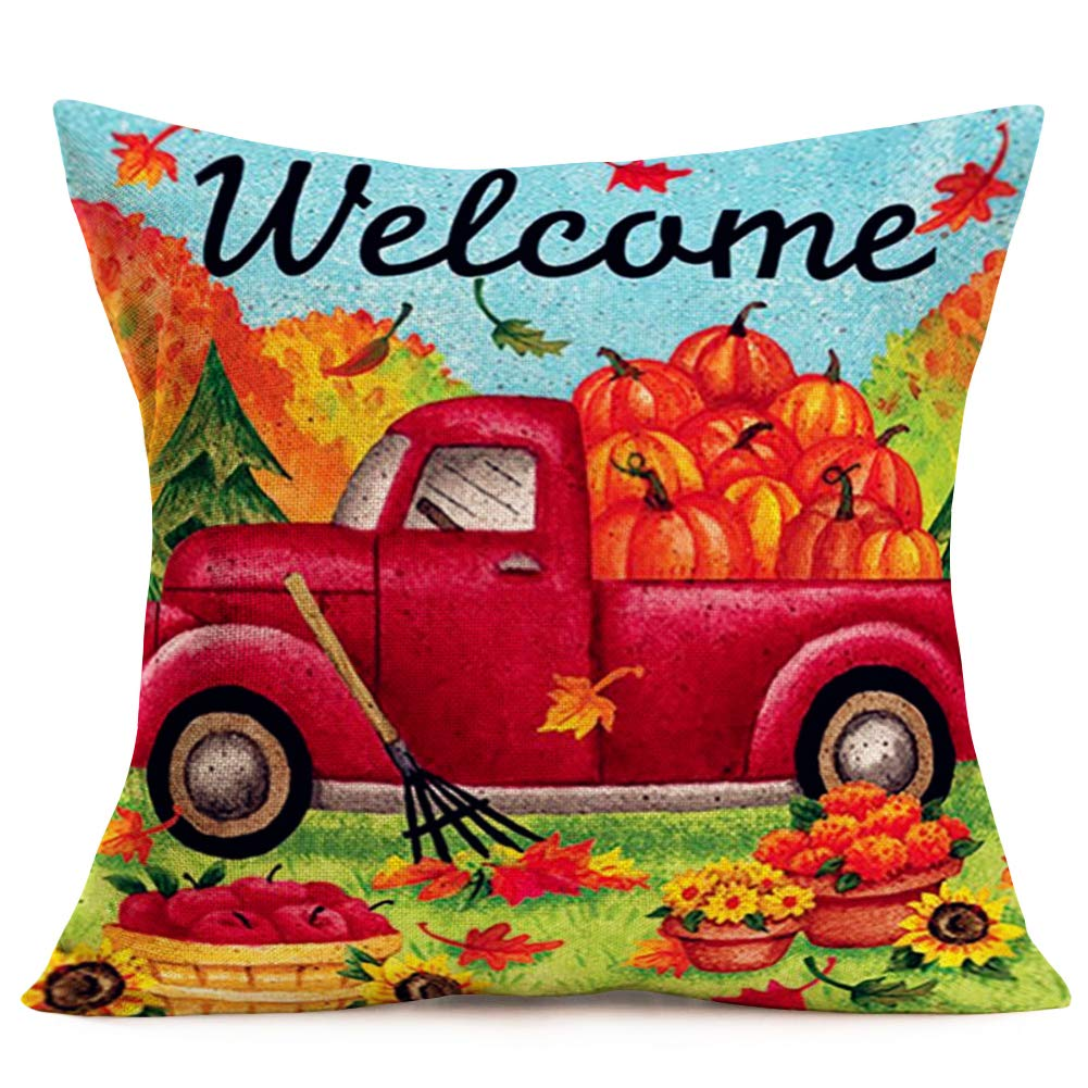 Fukeen Autumn Pumpkin Vintage Red Trucks Market Throw Pillow Covers Decorative Fall MapleLeaf Sunflower Apples Pillow Cases Cotton Linen Home Office Car Decor Square 18x18 Inch Cushion Cover