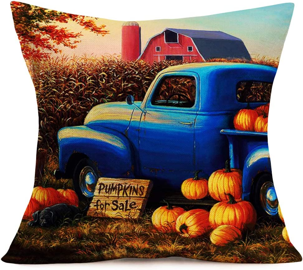 Hopyeer Vintage Pillow Covers Cotton Linen Oil Painting Blue Truck with Fall Pumpkin Throw Pillow Case Country Farm House Decor Fall Harvest Festival Cushion Cover for Home Couch 18