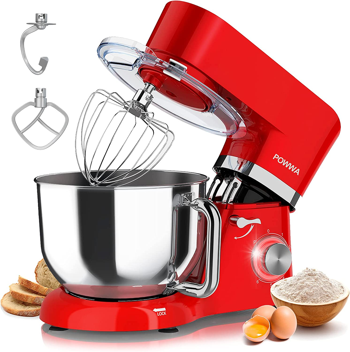 Stand Mixer POWWA 6 Speed Free shipping anywhere in the 35% OFF nation 660W Electric Tilt-Head Kitchen