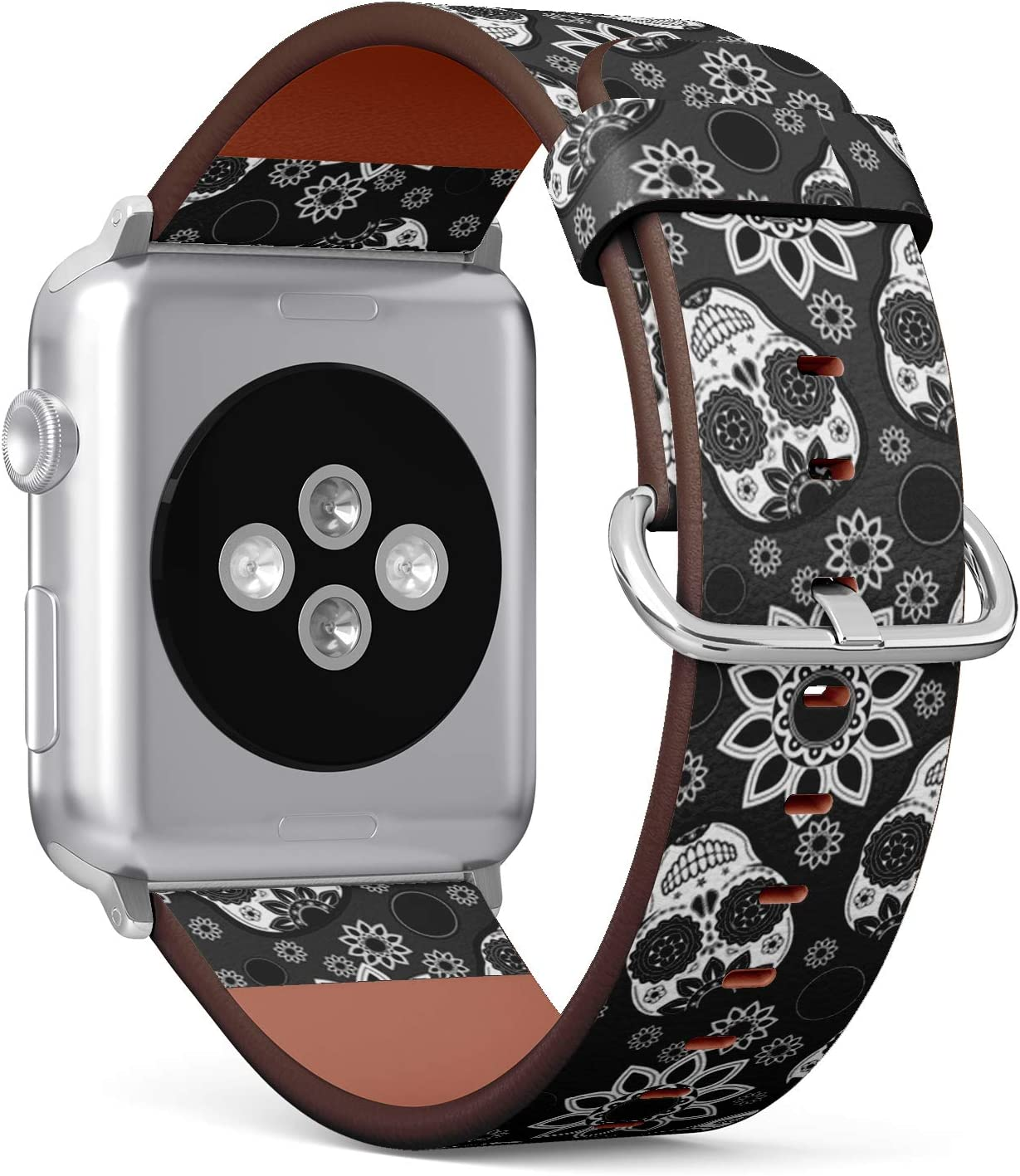 Compatible with Big Apple Watch 42mm & 44mm (All Series) Leather Watch Wrist Band Strap Bracelet with Stainless Steel Clasp and Adapters (Sugar Skull)