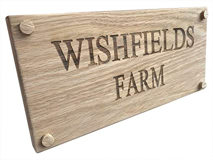 Personalised Oak House Sign Carved Custom Engraved Outdoor Wooden Name Plaque