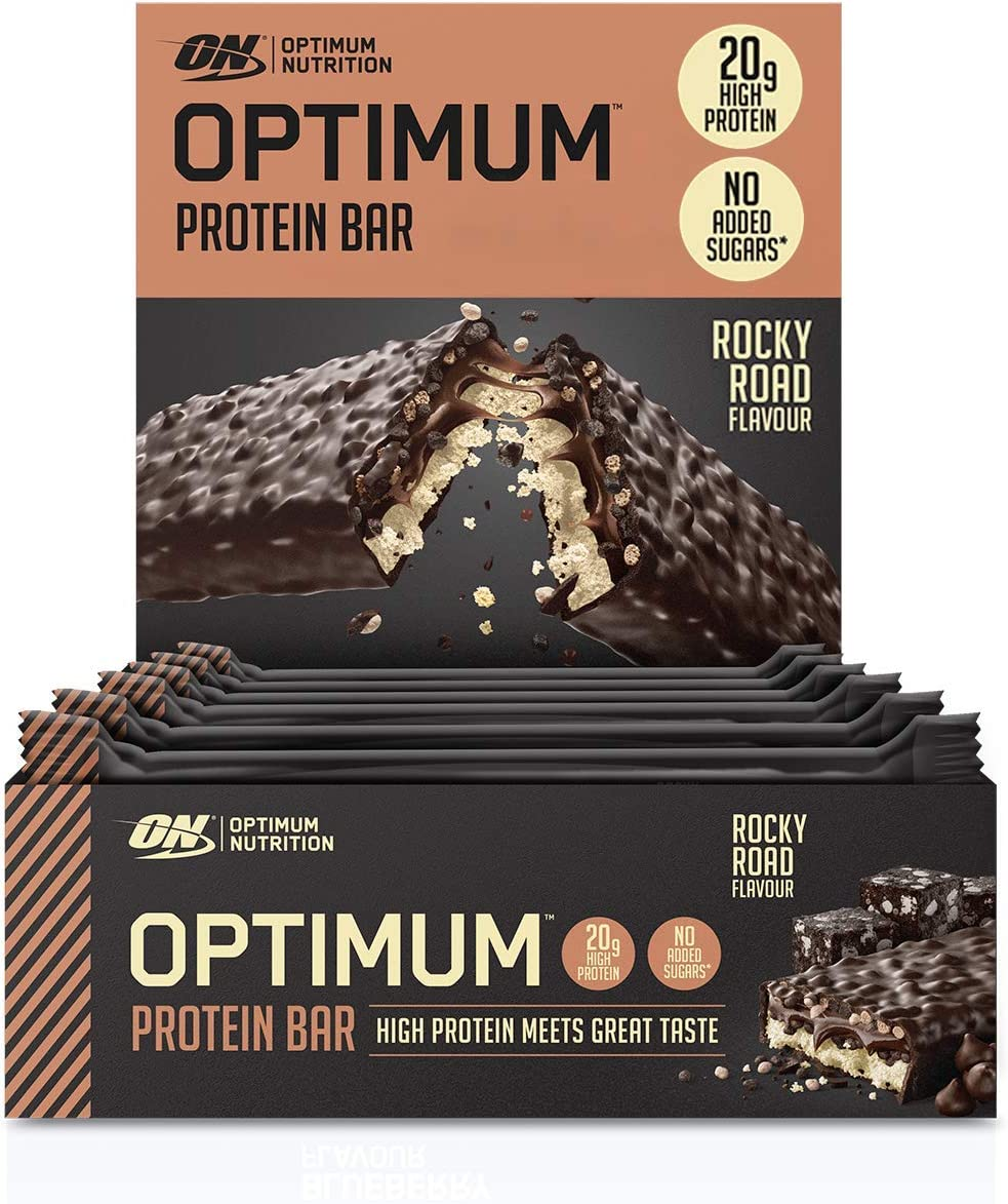 Optimum Nutrition ON Protein Bar Barritas Proteínas con Whey Protein Isolate, Dulces Altas en Proteína y Low Carb, Rocky Road, 10 Barras (10 x 60 gr)