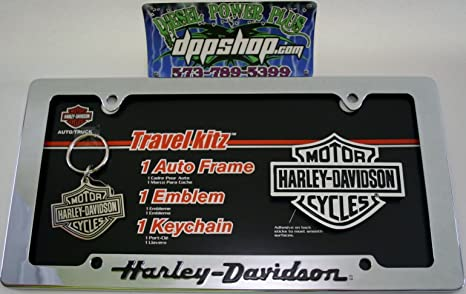 Harley davidson travel kitz license plate auto car truck frame tag emblem key chain ring