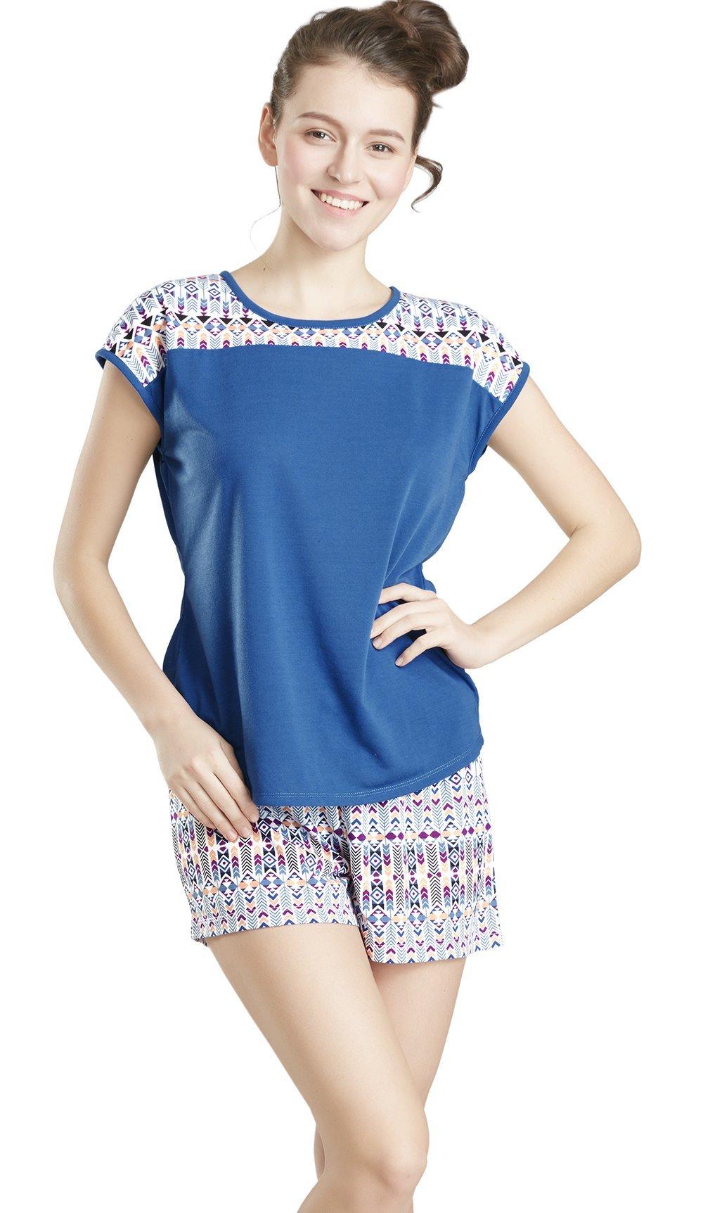 Summer Pajamas for Women - Short Sleeve Tee Shirt and Shorts Pajama Set for Women, Wander Print X-Large