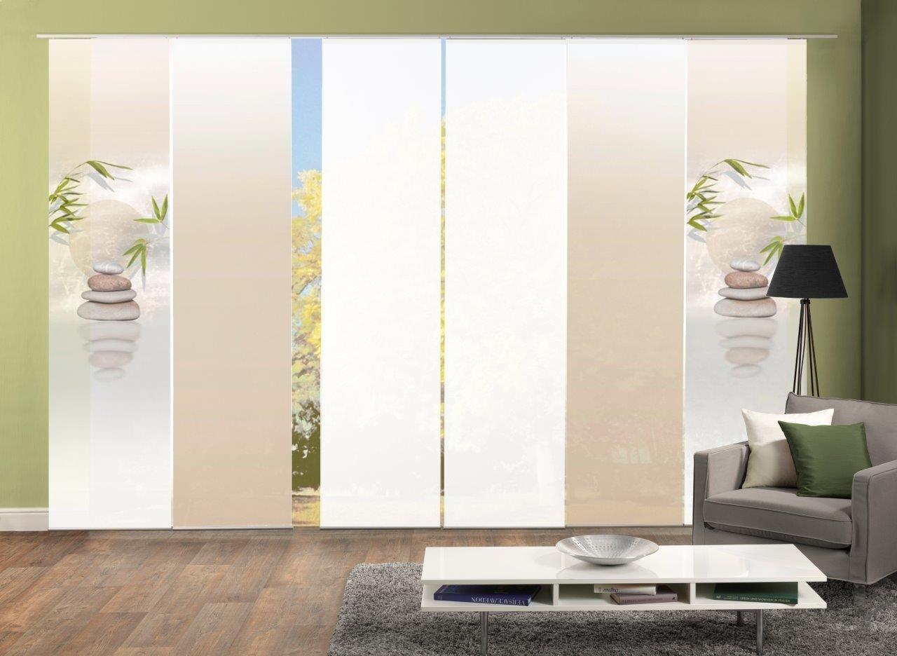 Abitiamo 6er-Set Flächenvorhang Buda, 96406-711, bestehend aus Motiv-, Farbverlauf- und Uni-Flächenvorhängen   je 245x60 cm