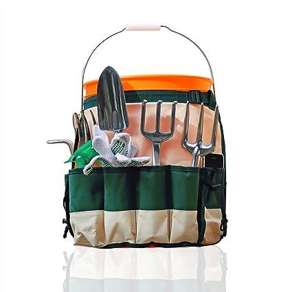 Merveilleux GardenHOME Garden Bucket Tool Organizer   5 Gallon Bucket Caddy Apron With  10 Deep Pockets For