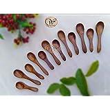 Wood Art Store Handmade Wooden teaspoons - Set of 6 (5 inches) and Wooden Masala Spoons - Set of 6 (4 inches)