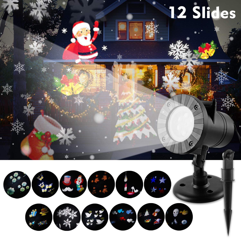 D/ías Festivos Wilktop L/ámpara LED de Proyecci/ón Proyector LED de Luz LED con 12 Patrones Cambiables Luces de Navidad IP65 Impermeables al Aire Libre e Interiores Como Luz de Jard/ín para Navidad