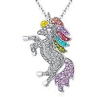ALoveSoul Silver Tone Little Princess Rainbow Unicorn Pendant Girl Ladies Fashion Necklace Gift for Women