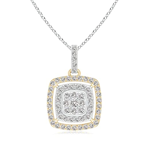 Angara Cluster Diamond Cushion Double Halo Pendant in Two Tone d62sxbZa