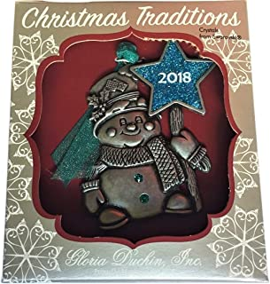 product image for Gloria Duchin 2018 Snowman Ornament with Swarovski Crystals