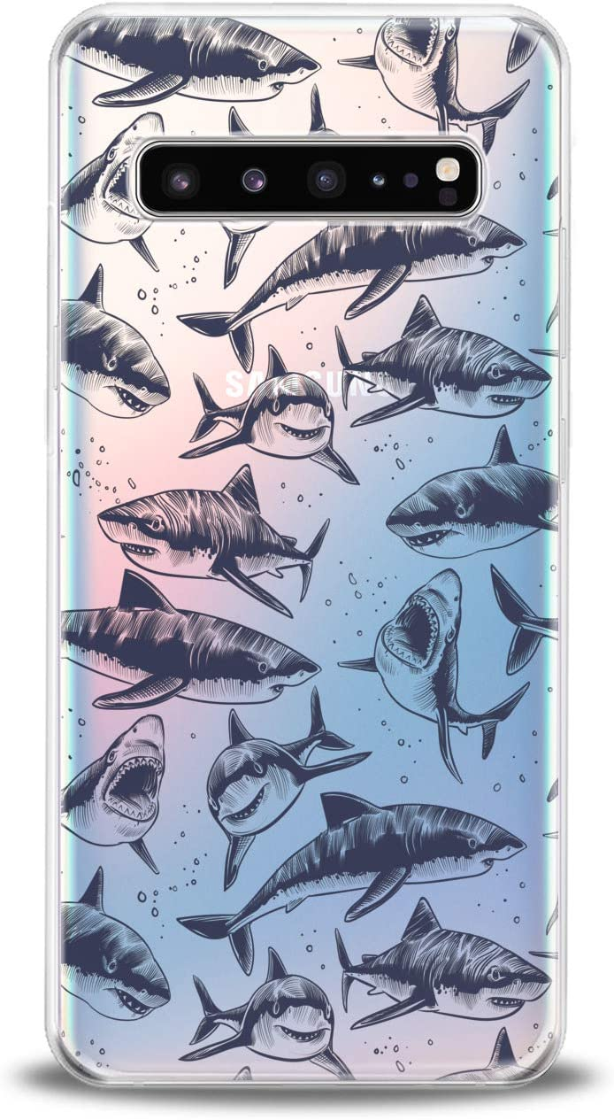 Anreda Silicone Phone Case for Samsung Galaxy S20 S10 Plus Note 20 5G S9 S8 S7 Clear Black Graphic Sharks Ocean Art Print Cute Pattern Sea Design Slim fit Fishes Cover Flexible Dangerous Smooth Soft
