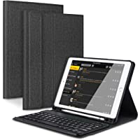 Feelkaus 9.7 Inch Bluetooth Keyboard Case for iPad 2018/iPad 2017/iPad Pro 9.7/iPad Air 2/iPad Air 1, Lightweight Detachable Bluetooth Keyboard with Auto Sleep/Wake Function Cover and Pencil Holder