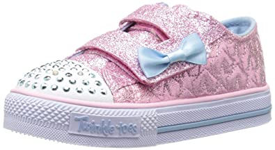 Skechers Girls Twinkle Toes: Shuffles - Glitter Heart Pink/Light Blue  Sneaker - 4