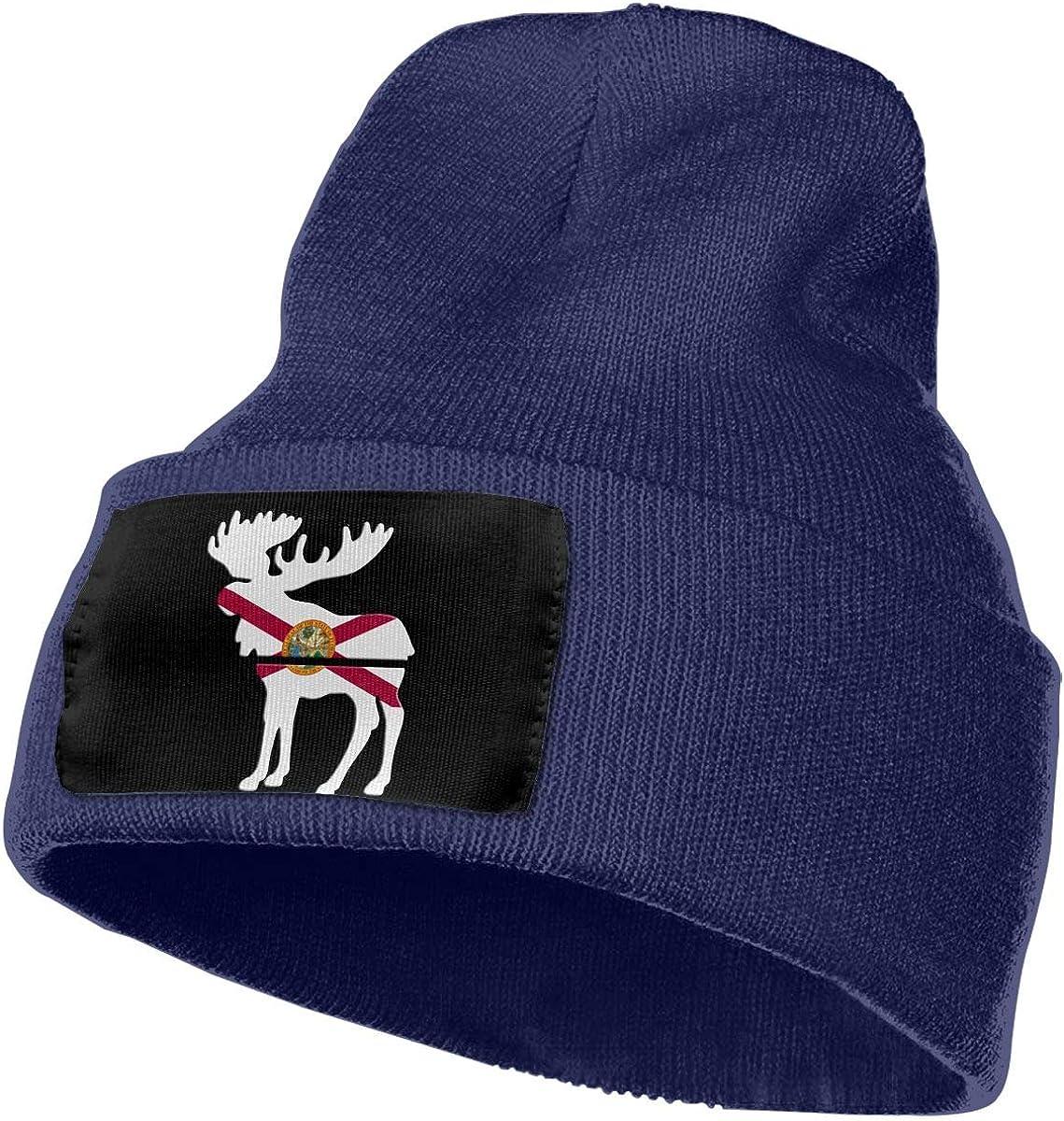 100/% Acrylic Skull Cap MXMAOM9MX Moose Florida Flag Warm Knitting Hat Mens Womens
