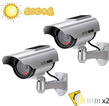 2x Fake Überwachungskamera Dummy LED Kamera Attrappe für Innen Außen in schwarz