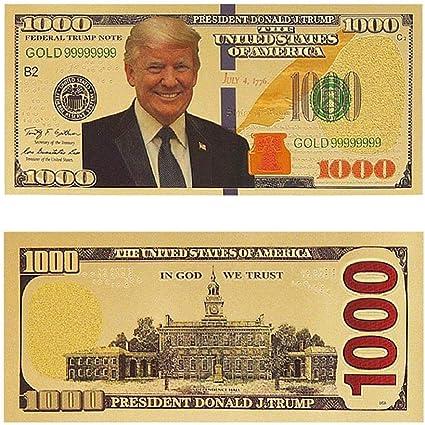 10PC President Donald Trump Colorized $1000 Dollar Bill Gold Foil Banknote EN US