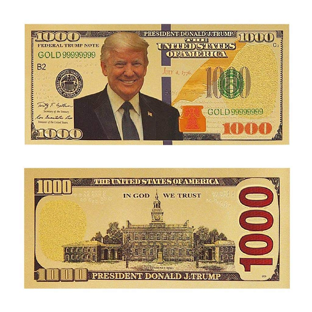 $1000000 Donald Trump Dollar Note Gold Foil Banknote Keep America Great Again