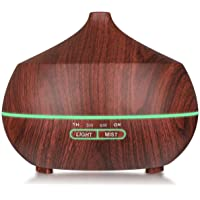 Aromatherapy Essential Oil Diffuser , Tenswall 400ml Wood Grain Ultrasonic Cool Mist Whisper-Quiet Humidifier with 7 Color LED Lights Waterless Auto Shut-off of Various Mist Light Modes
