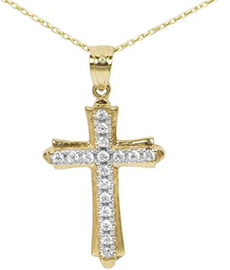 Ice on Fire Jewelry 10k Rose Gold Cubic Zirconia Cross Pendant