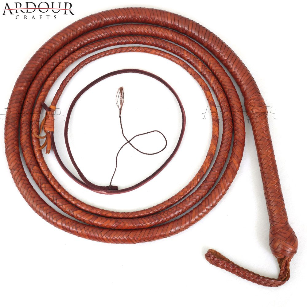 BULL WHIP 08 Feet 12 Plaits Cow Hide Tan Leather CUSTOM BULLWHIP Belly and Bolster Construction by Ardour Crafts