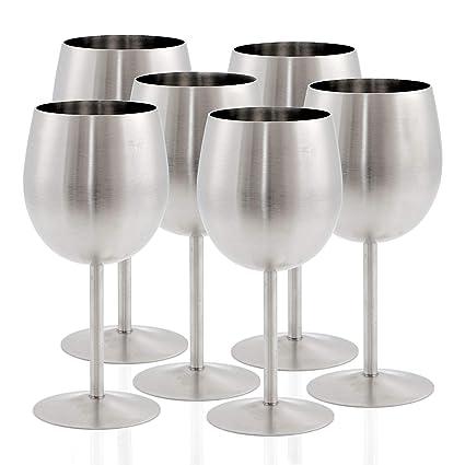 Zelsius - Juego de Copas de Vino de Acero Inoxidable, Copas ...