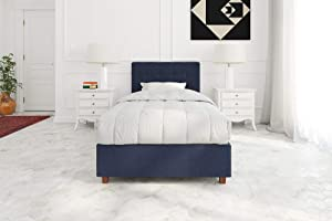 DHP Poppy Tufted Upholstered Platform Bed Frame, Blue Linen, Twin