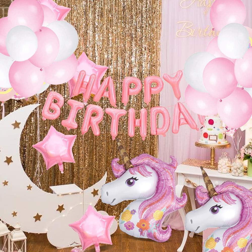 SPECOOL Decorazioni per Feste di Unicorno Rosa Buon Compleanno Banner con 2 Enormi Palloncino di Unicorn Coriandoli in Lattice Forniture per Feste di Compleanno per Bambini Adolescente