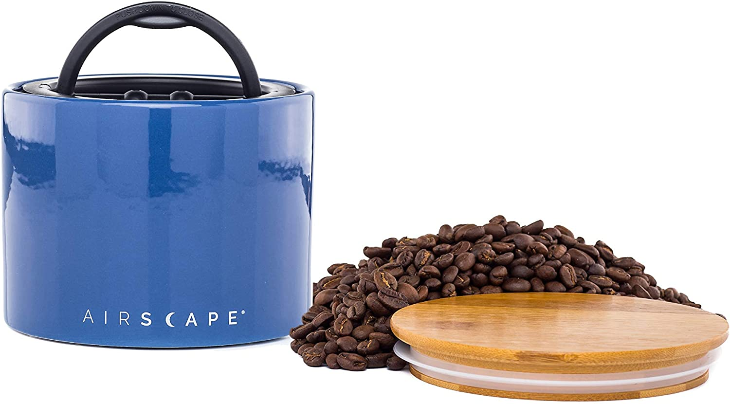 "Airscape Ceramic Coffee and Food Storage Canister, 4"" Small - Patented Airtight Inner Lid Releases CO2 and Preserves Food Freshness - Glazed Ceramic with Bamboo Top - Cobalt Blue"