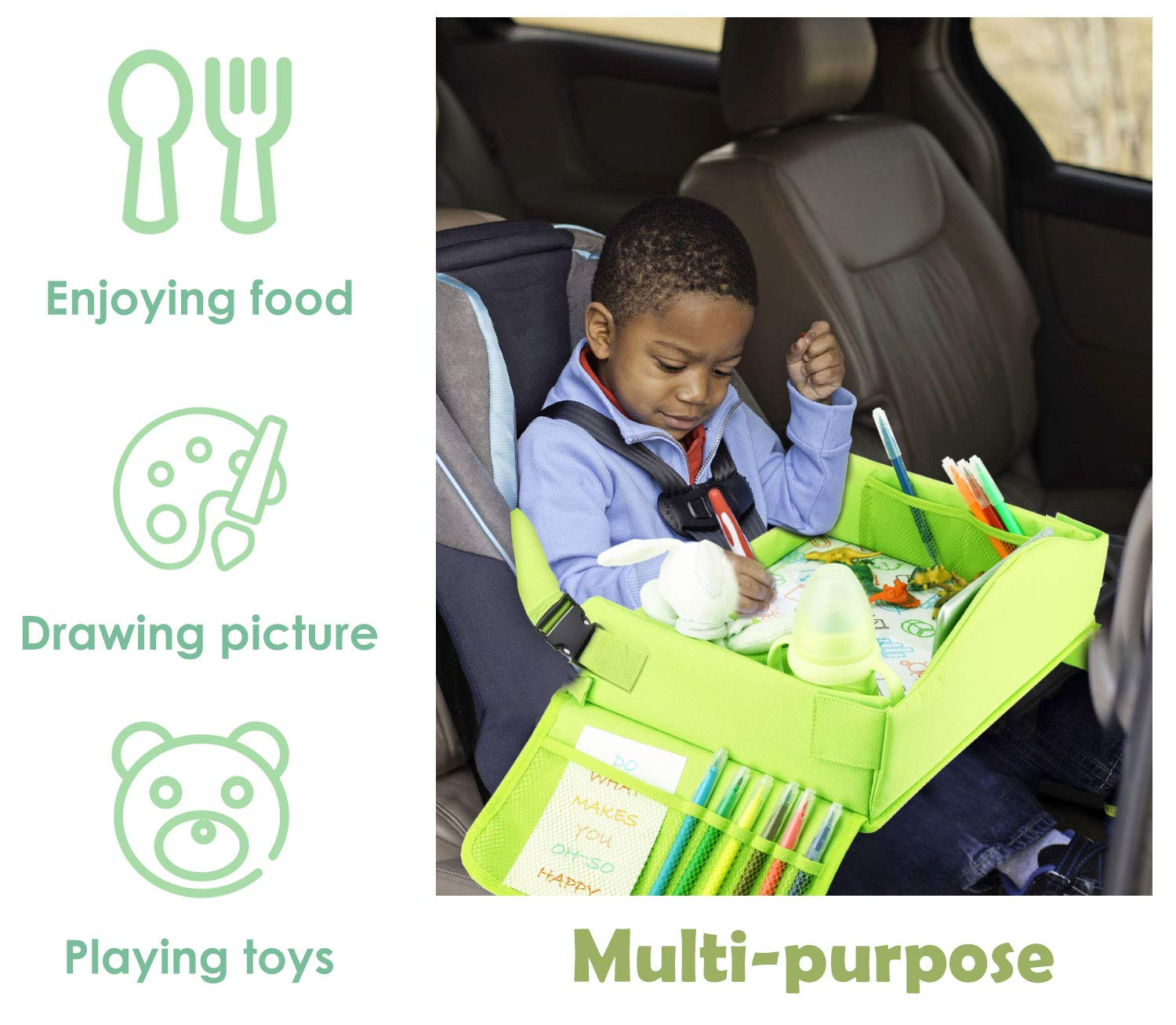 Green Zooawa Car Seat Lap Tray for Kids Toddlers and Baby Seat Attachable Storage /& Organizers Pockets with iPad Tablet Holder Lap Desk for Car Seats Strollers /& Air Travel