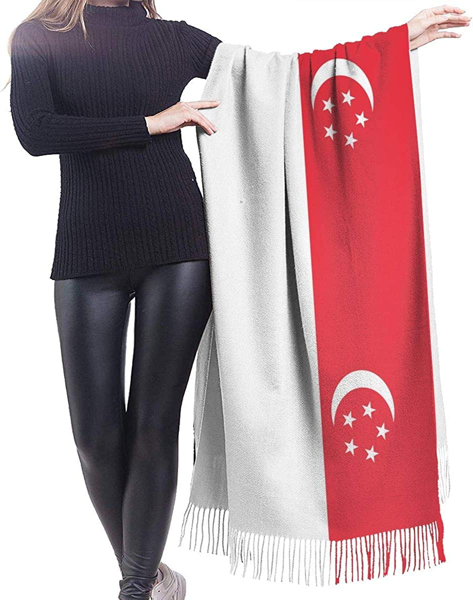 Singapore Flag Cashmere Scarf Shawl Wraps Super Soft Warm Tassel Scarves For Women Office Worker Travel